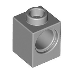 Light Bluish Gray Technic, Brick 1 x 1 with Hole