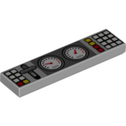 Light Bluish Gray Tile 1 x 4 with 2 Gauges, Lever and White, Red and Yellow Buttons Pattern