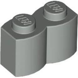 Light Gray Brick, Modified 1 x 2 with Log Profile