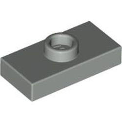 Light Gray Plate, Modified 1 x 2 with 1 Stud without Groove (Jumper) - used