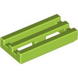 Lime Tile, Modified 1 x 2 Grille with Bottom Groove / Lip