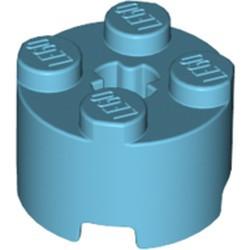 Medium Azure Brick, Round 2 x 2 with Axle Hole - new