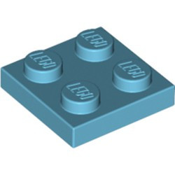 Medium Azure Plate 2 x 2 - new