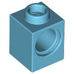 Medium Azure Technic, Brick 1 x 1 with Hole
