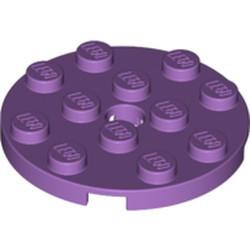 Medium Lavender Plate, Round 4 x 4 with Hole