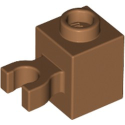 Medium Nougat Brick, Modified 1 x 1 with Open O Clip (Vertical Grip) - Hollow Stud - used