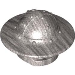 Metallic Silver Minifigure, Headgear Helmet Castle with Chin Guard and Broad Brim