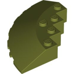Olive Green Brick, Round Corner 6 x 6 with Slope 33 Edge, Facet Cutout