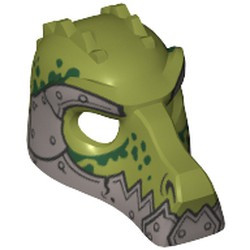 Olive Green Minifigure, Headgear Mask Crocodile with Metallic Silver Lower Jaw and Armor with Rivets and Dark Green Spots Pattern - used