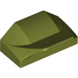 Olive Green Slope, Curved 1 x 2 x 2/3 Wing End