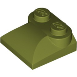 Olive Green Slope, Curved 2 x 2 x 2/3 with Two Studs and Curved Sides - used