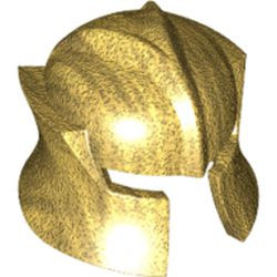 Pearl Gold Minifigure, Headgear Helmet Castle with Cheek Protection Angled