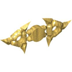 Pearl Gold Minifigure, Weapon Throwing Star (Shuriken) - new with Textured Grips, 2 on Sprue