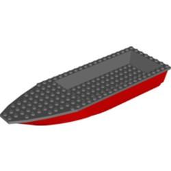 Red Boat, Hull Unitary 28 x 8 Base with Dark Bluish Gray Boat Hull Unitary 28 x 8 Top (92710 / 92711) - new