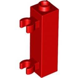 Red Brick, Modified 1 x 1 x 3 with 2 Clips (Vertical Grip) - used - Hollow Stud