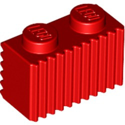 Red Brick, Modified 1 x 2 with Grille / Fluted Profile