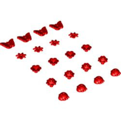Red Friends Accessories Flower with 7 Thin Petals and Pin