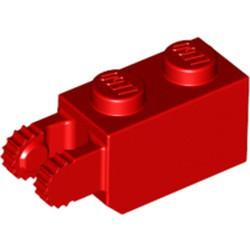Red Hinge Brick 1 x 2 Locking with 2 Fingers Vertical End, 9 Teeth - used