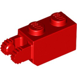 Red Hinge Brick 1 x 2 Locking with 2 Fingers Vertical End, 9 Teeth