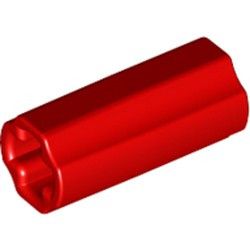 Red Technic, Axle Connector 2L (Smooth with x Hole + Orientation) - new