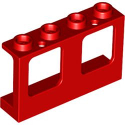 Red Window 1 x 4 x 2 Plane, Single Hole Top and Bottom for Glass