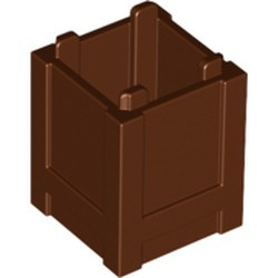 Reddish Brown Container, Box 2 x 2 x 2 - Top Opening - used