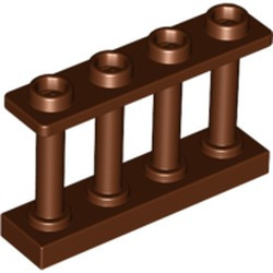 Reddish Brown Fence 1 x 4 x 2 Spindled with 4 Studs