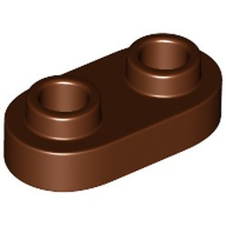 Reddish Brown Plate, Modified 1 x 2 Rounded with 2 Open Studs - new