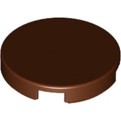 Reddish Brown Tile, Round 2 x 2 with Bottom Stud Holder
