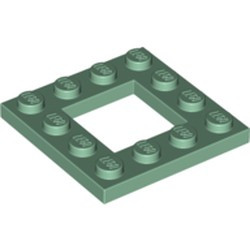 Sand Green Plate, Modified 4 x 4 with 2 x 2 Cutout