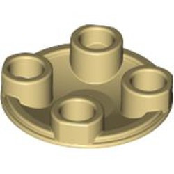 Tan Plate, Round 2 x 2 with Rounded Bottom (Boat Stud) - new