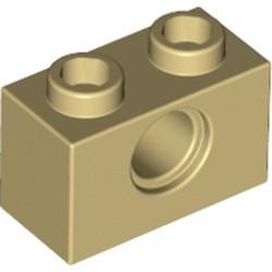 Tan Technic, Brick 1 x 2 with Hole - new