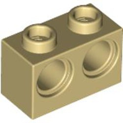 Tan Technic, Brick 1 x 2 with Holes - new
