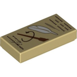 Tan Tile 1 x 2 with Groove with Reddish Brown 'Wingardium Leviosa' and Wand and White Feather Pattern - new