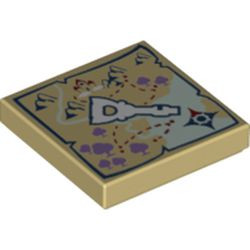 Tan Tile 2 x 2 with Groove with Map and Elven Key Pattern