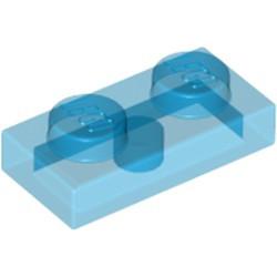 Trans-Dark Blue Plate 1 x 2
