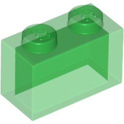 Trans-Green Brick 1 x 2 without Bottom Tube - used