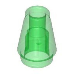 Trans-Green Cone 1 x 1 with Top Groove - used