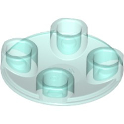 Trans-Light Blue Plate, Round 2 x 2 with Rounded Bottom (Boat Stud) - new