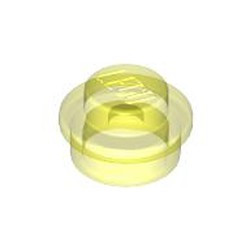 Trans-Neon Green Plate, Round 1 x 1 - used