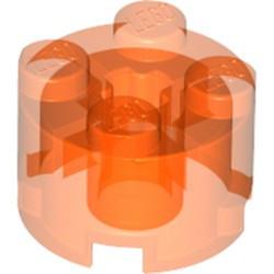 Trans-Neon Orange Brick, Round 2 x 2 with Axle Hole - new