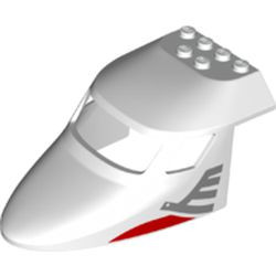 White Aircraft Fuselage Forward Top Curved 6 x 10 with 3 Window Panes with Metallic Silver Airline Bird Pattern on Both Sides