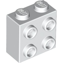 White Brick, Modified 1 x 2 x 1 2/3 with Studs on 1 Side - new