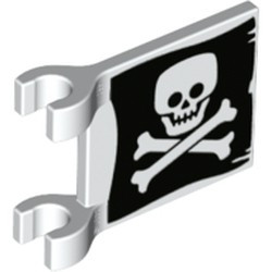 White Flag 2 x 2 Square with Flat Skull and Crossbones (Jolly Roger) Pattern on Both Sides - new