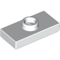 White Plate, Modified 1 x 2 with 1 Stud without Groove (Jumper) - used