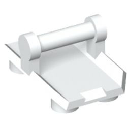 White Plate, Modified 2 x 3 Inverted with 4 Studs and Bar Handle on Bottom - Closed Ends (Rocker Plate) - new