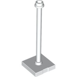 White Support 2 x 2 x 5 Bar on Tile Base with Hollow Stud and Stop Ring