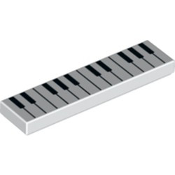 White Tile 1 x 4 with Black and White Piano Keys Pattern
