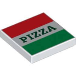 White Tile 2 x 2 with Groove with Red and Green Stripes and Dark Green 'PIZZA' Pattern (Pizza Box) - new