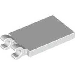White Tile, Modified 2 x 3 with 2 Open O Clips - used